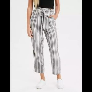 American Eagle High-Waisted Striped Tapered Pants